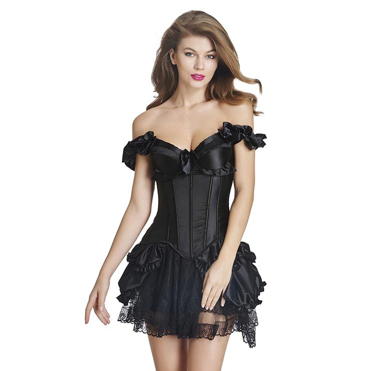 2 Pcs Romantic Vintage Satin Corset With Lace Dancing Skirt Set N11355