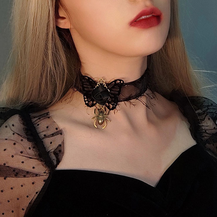 Gothic Black Rose and Butterfly Choker Spider Pendant Cosplay Jewelry Handmade Necklace J21468