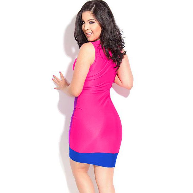 fashion rosy neon color block sexy bodycon mini dress n7975