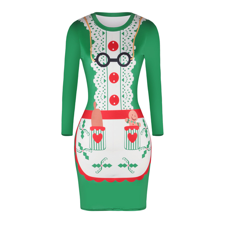Women's Christmas Round Neck Long Sleeve Christmas Costume Print Bodycon Dress N15084