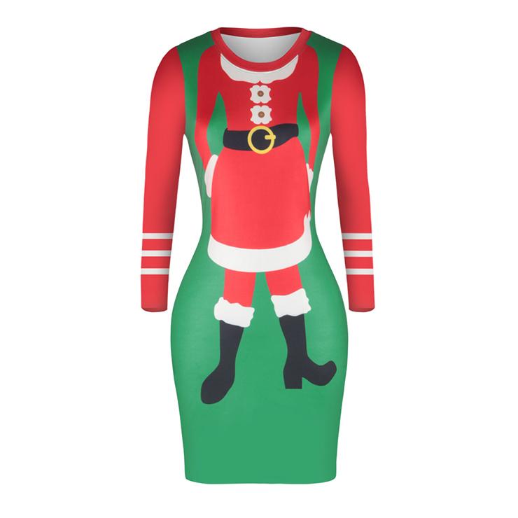 Women's Christmas Round Neck Long Sleeve Printed Bodycon Dress N15088