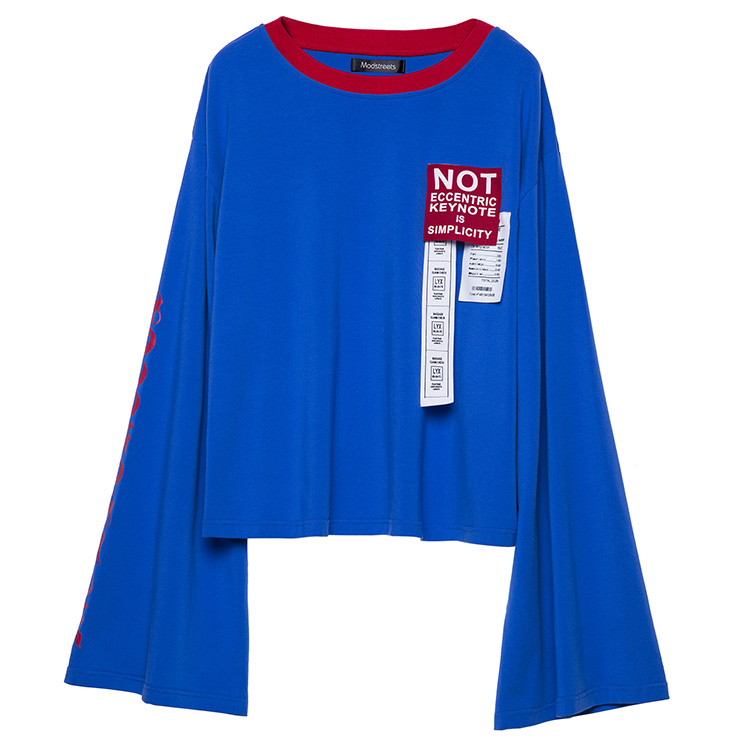 c223928902e7ca Women s Blue Round Neck Letter Print Flare Sleeve Casual T-shirt N15667