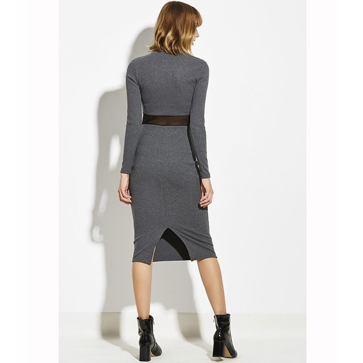 Midi Dresses, Casual Dresses For Women, Daily Dresses, Slim Fitting A-line Dresses, Round Neck Gray Dress, Party Dress, Wedding Guest Dresses, #N14941