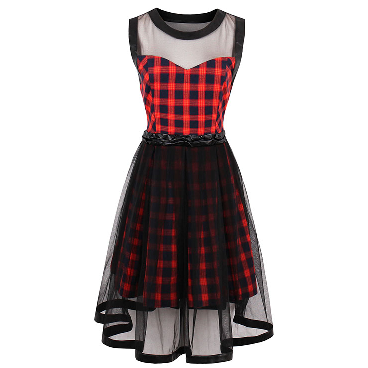 Sexy Women's Round Neck Sleeveless Mesh Plaid Patchwork Dress N14376