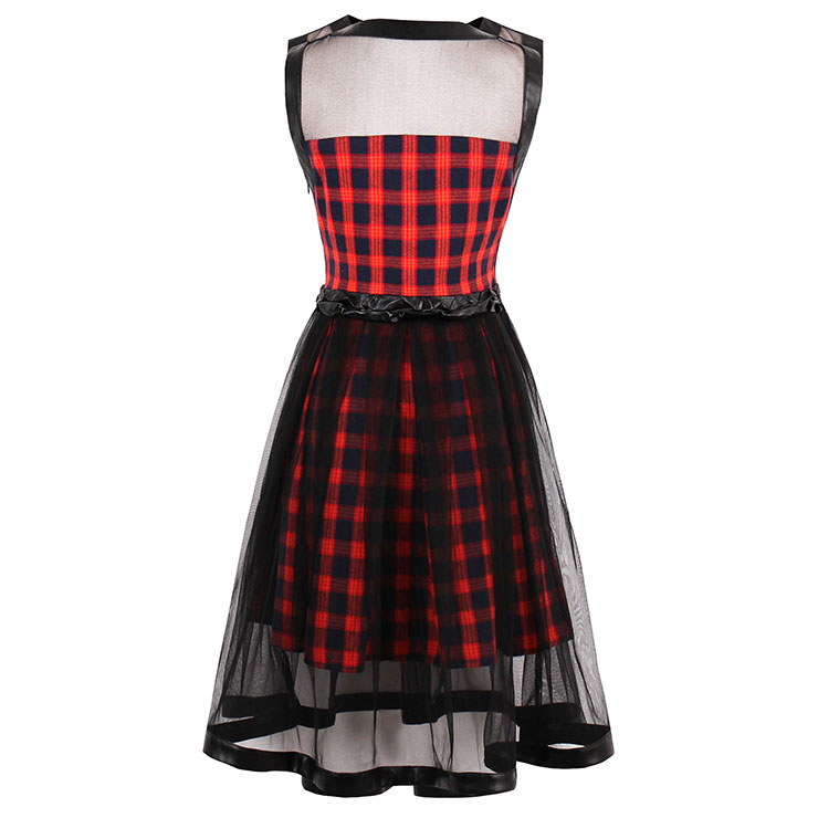 Sleeveless Plaid Dress, High Waist Plaid Mini Dress, Vintage Dress for Women, Sexy Dresses for Women Cocktail Party, Mesh Patchwork Dress, #N14376
