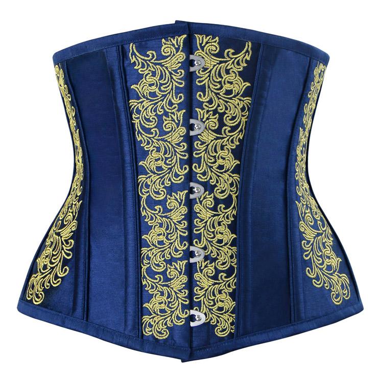 Vintage Royal-Blue Brocade Embroidery Underbust Corset N12590