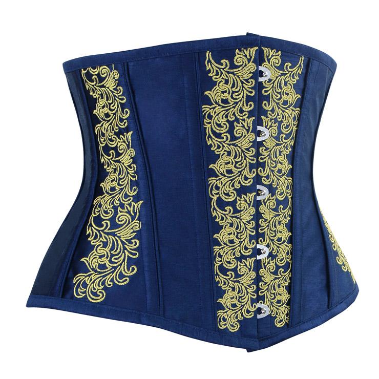 Brocade Embroidery Underbust Corset, Steel Bone Waist Training Corset, Steel Boned Brocade Corset, #N12590