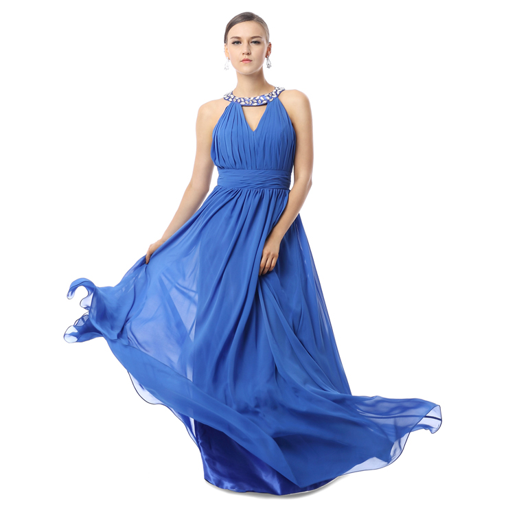 2016 Hot Selling Royalblue Jewel V-Neck Sleeveless Ruffles Chiffon Long Evening Dresses F30026