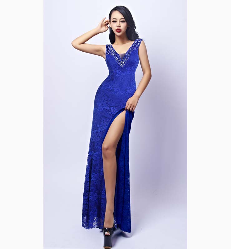Sexy Royalblue V Neck Crystal Beads Long Formal Evening Dress N11163