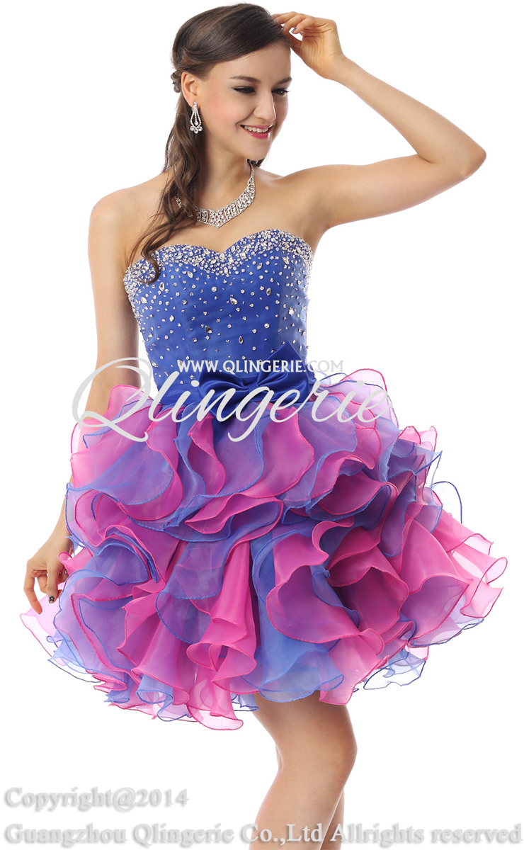 Cute Royalblue and Pink Sweetheart Mini-Length Empire Beading ...