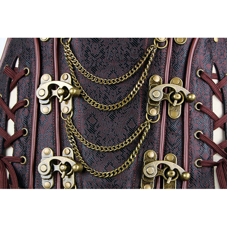 Brown Steel Bone Corset, Cheap Brocade Overbust Corset, Women