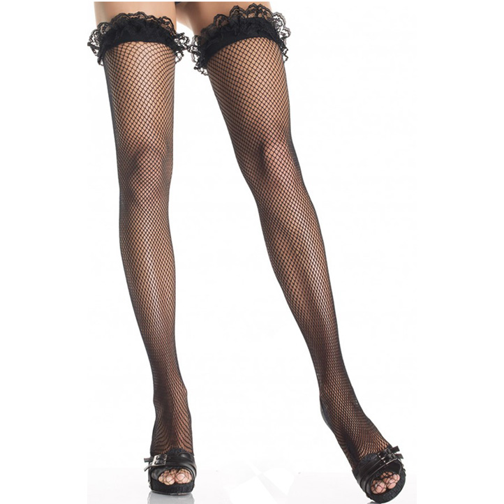 Nylon Fishnet Thigh High Stockings, fishnet hosiery, Back Seam Heart Stockings, #HG1861