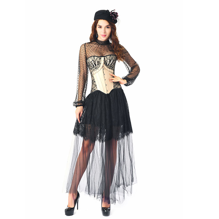 Noble Apricot Strapless Lace Trim Ruffle Corset Black Blouse High-waisted Skirt Set N20244