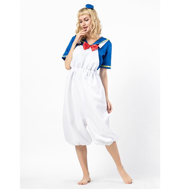 4PCS Retro Women's Sailor Costume Sailor Shirt and Suspenders Cosplay Set N18303