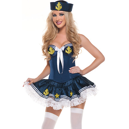 Blue Sea Flirt Sailor Girl Costume M1708