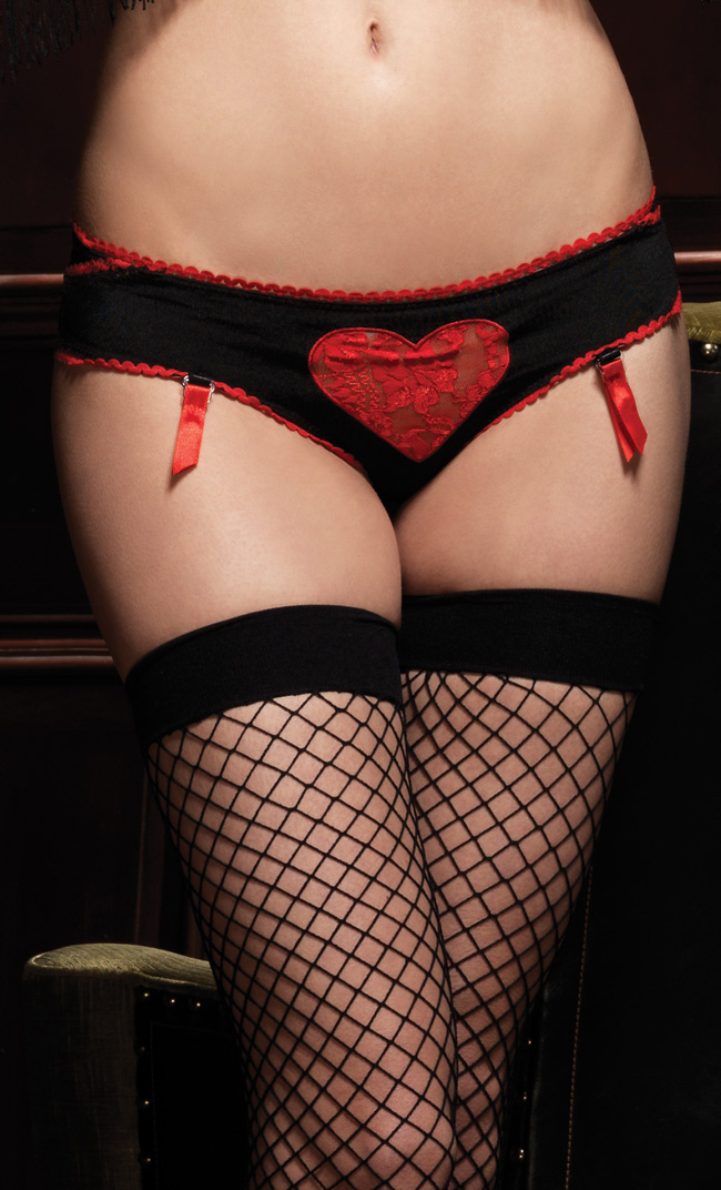 Satin And Organza Skirt & Heart Print Pantie, Layered Bustle & Valentines Day Panties, #N4444