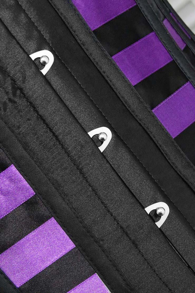 Satin Boned Lace up Lingerie Corset, Corset Bustier, Purple Corset, #N6924