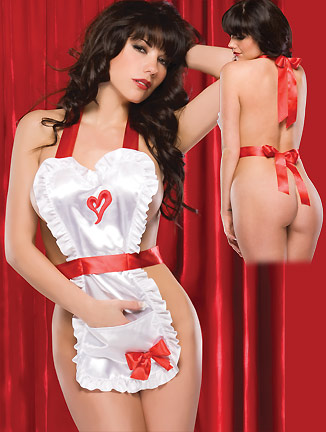 2e4dd667c Sexy Exotic Heart Shape Satin Backless Apron Adult Flirting Lingerie N2317