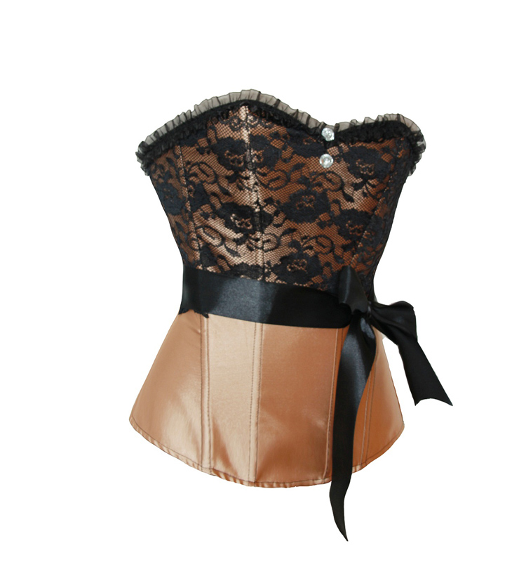 Sexy Overbust Champagne Black Lace Gem Bowknot Sweetheart Corset N6092