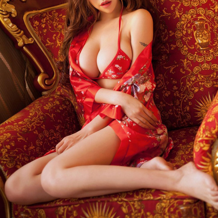 Satin Red Robe and G-String, Silk Robe and Thong, Sexy Sleepwear Robe Red, Floral Print Satin Robe Lingerie,Sexy Long Sleeves Lingerie Sets, #N17071