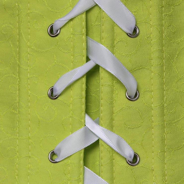 Satin Ruffled Strapless Corset, Lime Ruffled Corset, Ruffled Corset, #N6737