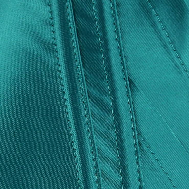 Turquoise Satin Halter Corset, Low Cup Overbust Corset, Padded Bra Boned Corset, #N9182