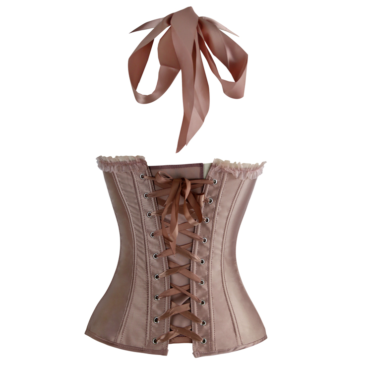 Champagne Satin Halter Corset, Low Cup Overbust Corset, Padded Bra Boned Corset, #N9327