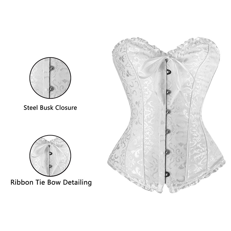 sexy Corset, White Corset, Embroidered corset, #N2731