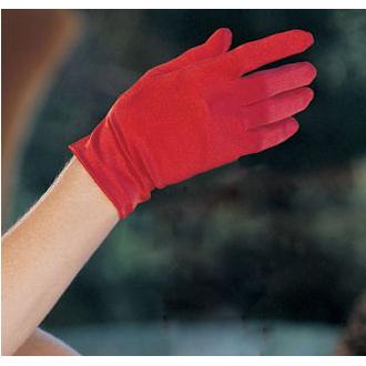 Red Satin wrist length gloves HG1916