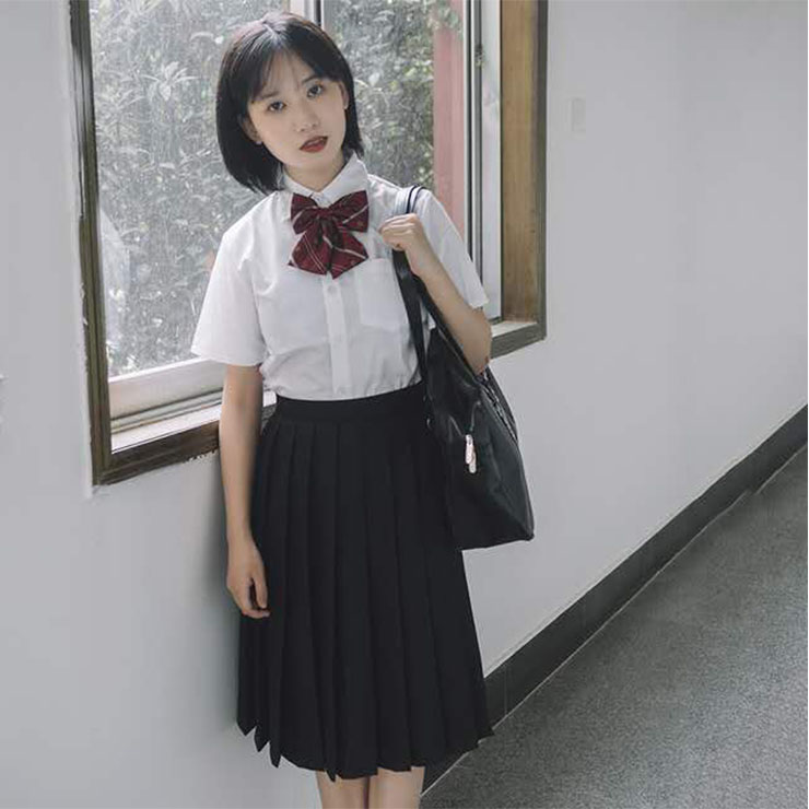 Lovely Lapel Tie Short Sleeve Blouse With Pleated Skirt Set School Girl Cosplay Costume N20555