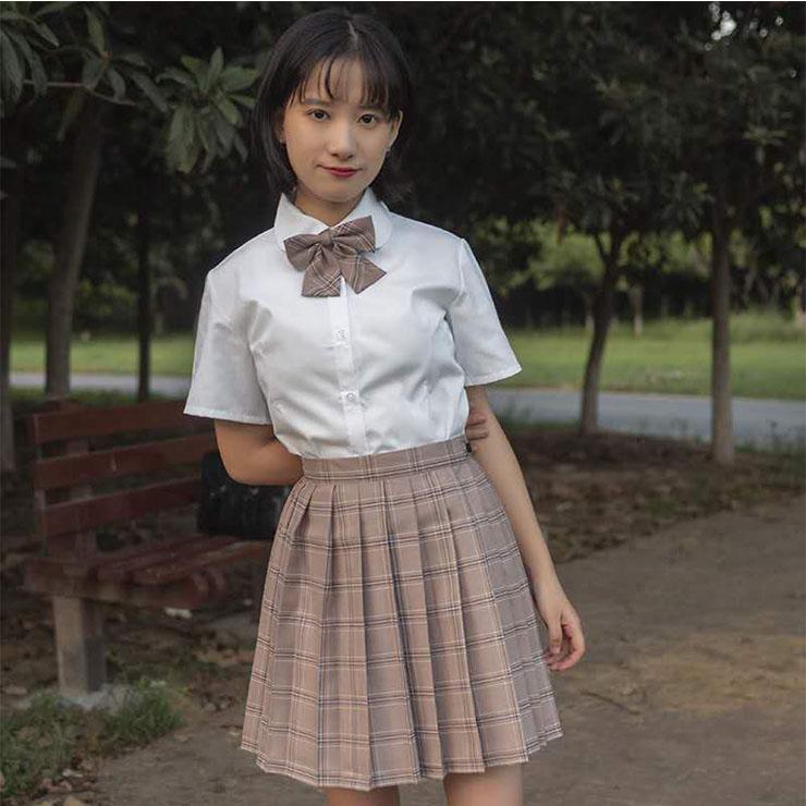 Cute Lapel Tie Short Sleeve Blouse With Plaid Pleated Skirt Set School Girl Cosplay Costume N20556