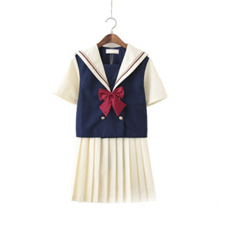 Cute Navy Collar Blouse With Skirt Academy Uniform Sets School Girl Cosplay Costume N20557