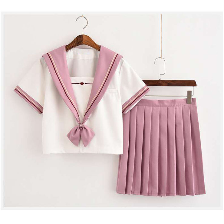 Lovely Navy Collar Tops With Skirt Academy Uniform Sets School Girl Cosplay Costume N20611