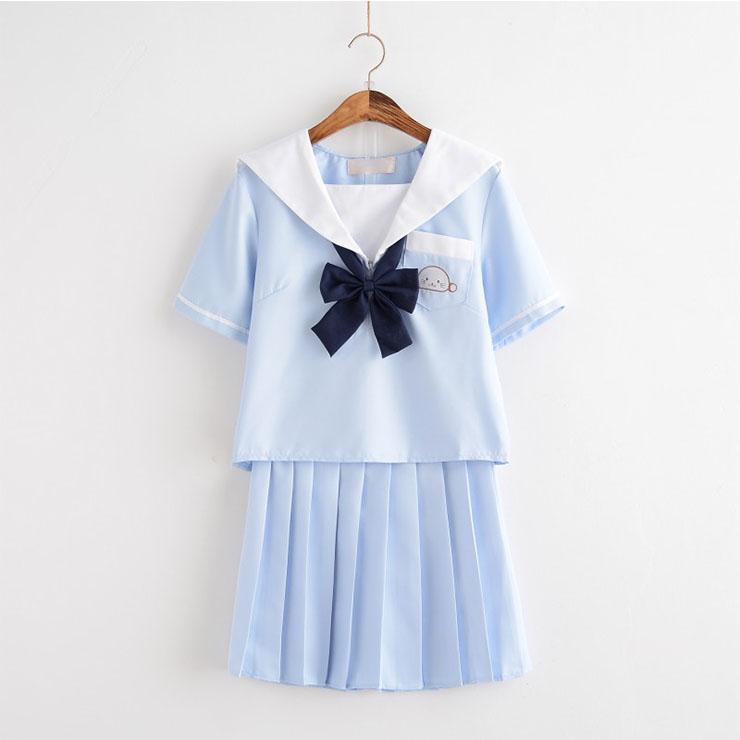 2Pcs Cute JK Academy Uniform Sets Schoolgirl Halloween Cosplay Costume N20612