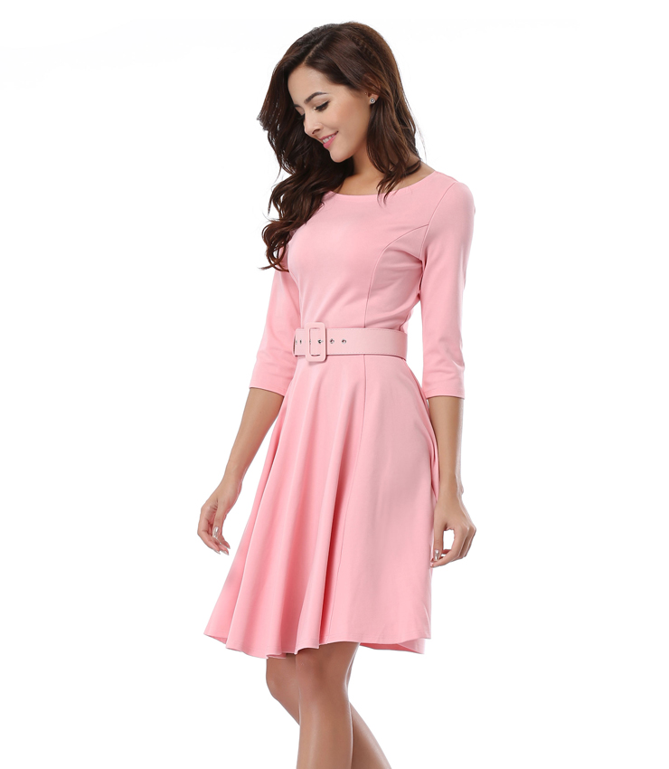 Scoop Neck Solid Casual Swing Knee Length Dress N14016