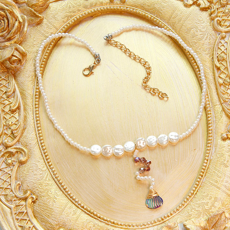 Fashion Artificial Pearl Choker Seashell Pendant Mermaid Cosplay Jewelry Handmade Necklace J21465