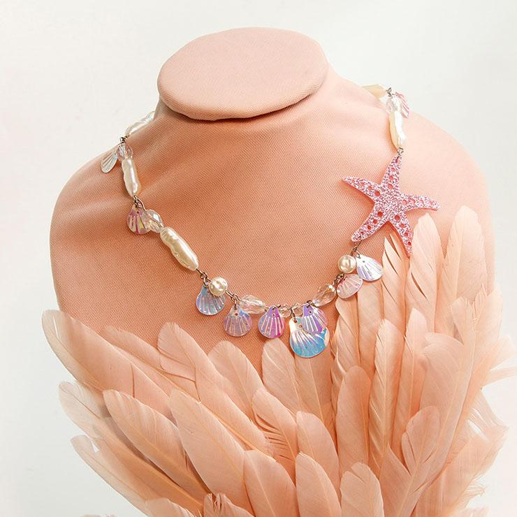 Lovely Seashell Starfish Choker Artificial Pearl Mermaid Cosplay Jewelry Handmade Necklace J21464
