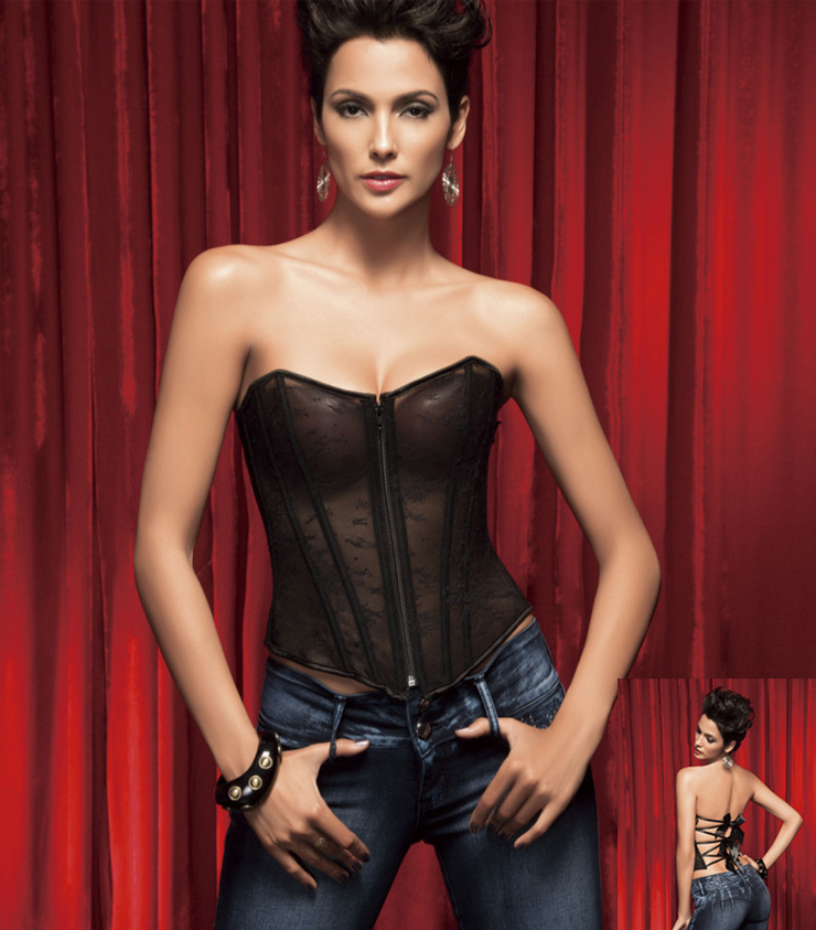 Sexy See-through Strapless Sheer Mesh Backless Lace-up Bustier Overbust Corset M1370
