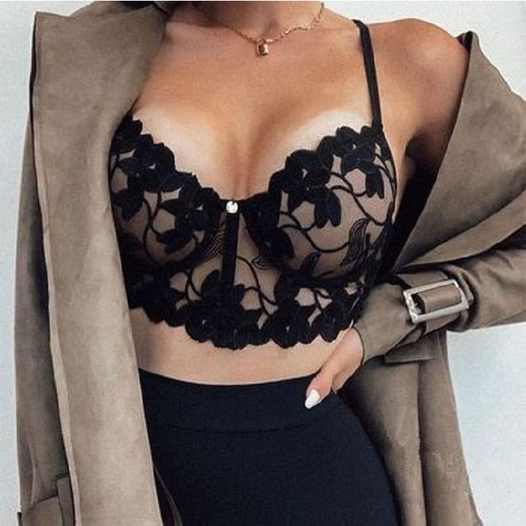 Sexy Charming Black See-through Floral Lace Three-point Bra Crop Top N21255