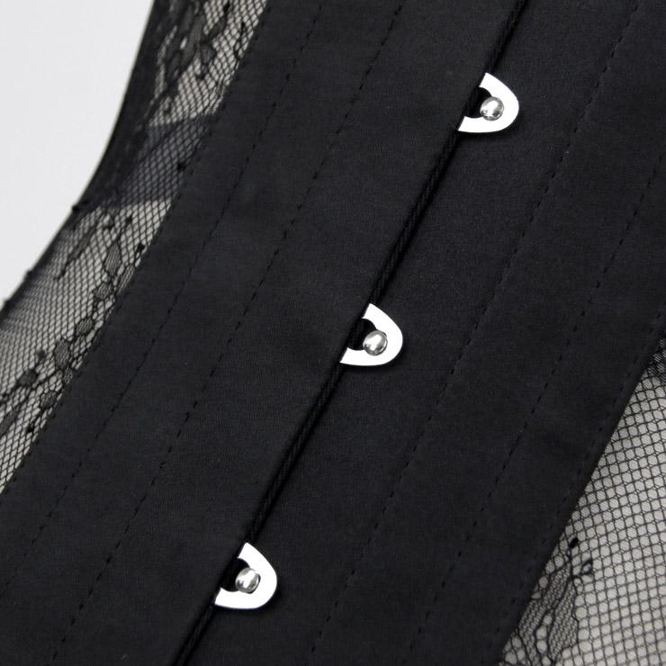 Cheap Corset for Womens, Waist Cincher Corset, See-through Steel Boned Corset, Black Underbust Corset, Mesh Underbust Corset, Women
