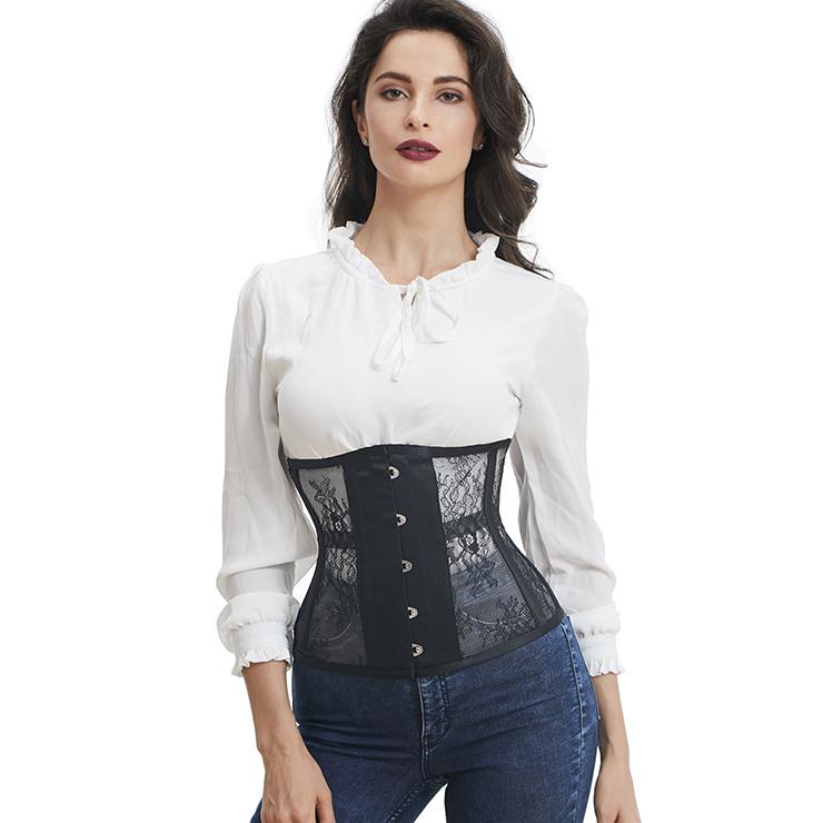 Fashion Black See-through Floral Lace Steel Boned Underbust Waist Cincher Corset N17535