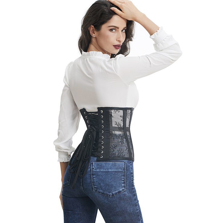Cheap Corset for Womens, Waist Cincher Corset, See-through Steel Boned Corset, Black Underbust Corset, Mesh Underbust Corset, Women