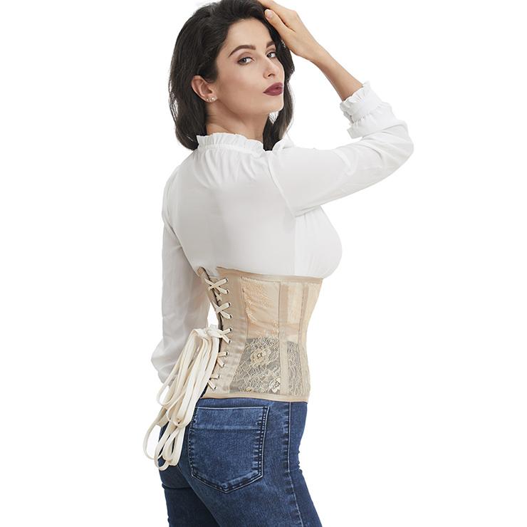 Cheap Corset for Womens, Waist Cincher Corset, See-through Steel Boned Corset, Apricot Underbust Corset, Mesh Underbust Corset, Women