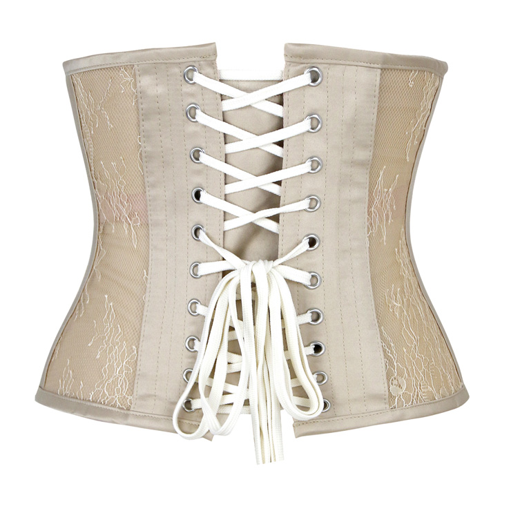 Cheap Corset for Womens, Waist Cincher Corset, See-through Steel Boned Corset, Apricot Underbust Corset, Mesh Underbust Corset, Women