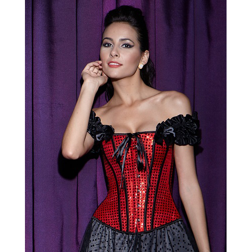 fdcd270038 Red   Black Sequin Lace-Up Corset With Sleeves