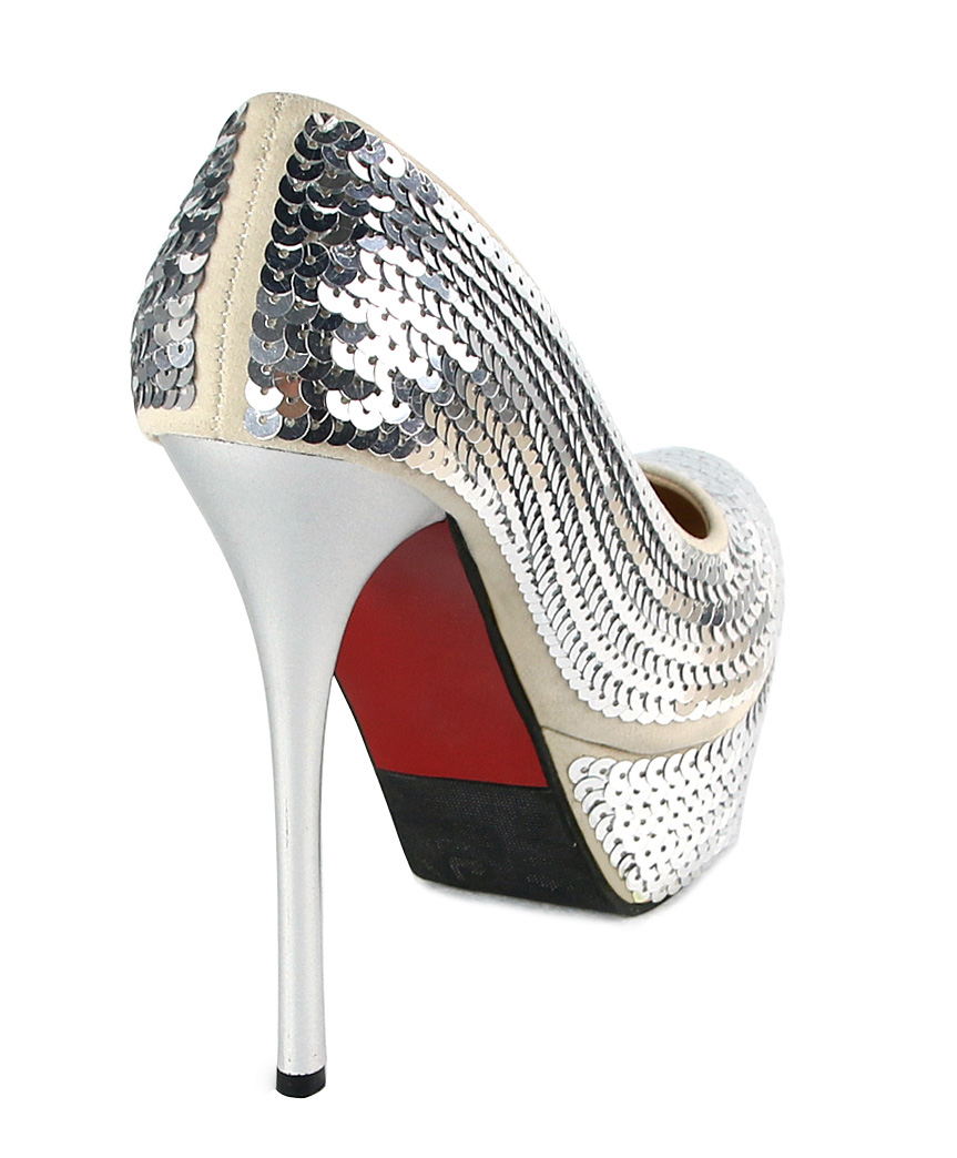 Silver Sequin Shoes, Concealed Shoes, Court Shoes, #SWS12026