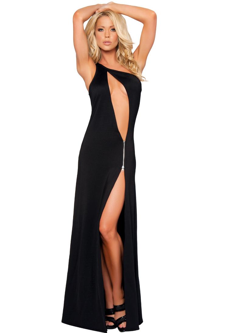 One Shoulder Cutout Gown GW2809