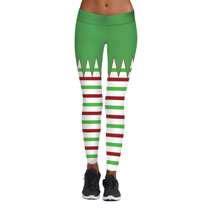8bbeeb49dd3b2 Women's Sexy 3D Digital Print Chic Ugly Santa Christmas Slim Leggings Tights  L15107