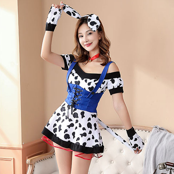 5pcs Cute Milk Cow Girl Off-shoulder Fake-two Pieces Mini Dress Set Adult Cosplay Costume N20854