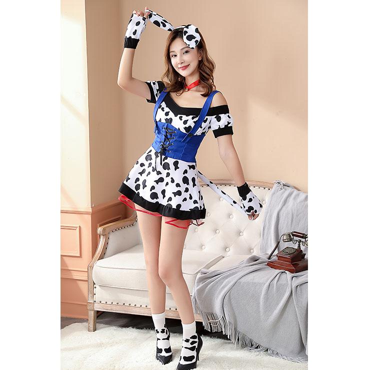 Adult Cosplay Costume, Adult Cosplay Costume Set, Sexy Milk Cow Girl Cosplay Costume, Sexy Off-shoulder Set Costume, Sexy Milk Cow Girl Cosplay, Adult Milk Cow Girl Role Play Costume, Milk Cow Girl Mini Dress Set, #N20584